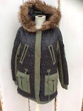 Lovely Asos Black & Green Fur Trimmed Quilted Parka Coat - BNWT