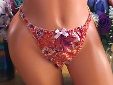 Apricot & Amber Shimmery Floral  9/2XL  SATIN String Sissy Bikini Panties NEW B