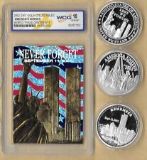 2002 23 Kt Gold World Trade Center 9/11 Patriotic  Silver 3 Coin Lot Grade