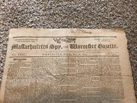 215 Year Old Newspaper: Massachusetts Spy or Worcester Gazette - May 18, 1803