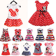 Kids Girls Mickey Minnie Mouse Party Mini Dress Ruffle Sleeveless Casual Tops