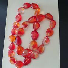 Dinosaur Designs Orange Swirled Resin Pebble Bead Longer Necklace Free Postage