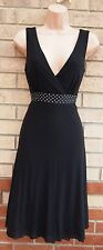 NEXT BLACK BEADED STUDDED WAISTBAND MESH V NECK SKATER FLIPPY PARTY DRESS 8 S