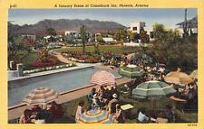 PHOENIX, AZ  Arizona  CAMELBACK INN  Poolside in January  Roadside 1948 Postcard