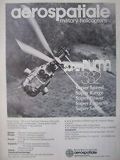 4/1982 PUB AEROSPATIALE HELICOPTERE AS 332 SUPER PUMA HELICOPTER ORIGINAL AD
