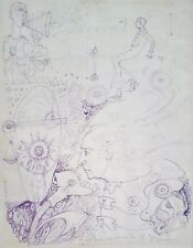 Cuban Art. Drawing by Carlos Guzman. Untitled, n/d. Ink on paper. Original Art.