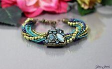 Glass Jewels Bronze Armband Perlen Vintage Statement Türkis Blau Strass #O004