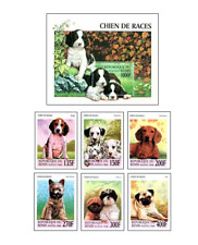 BEN9805 Purebred dogs block and 6 stamps