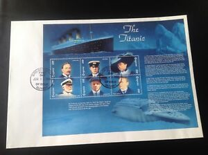 The Titanic Stamps first day Cover 17/6/98 Guyana Ismay Smith Phillips Fleet . .