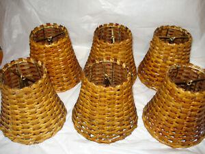 "Vintage Rattan Wicker Lamp Shade Basket Weave 4.5"" Tall Set Of 6 Decorative"