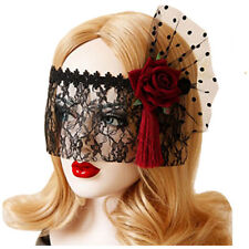 Retro Black Lace Veil Cover Headdress Funny Party Half Face Death COS Masks O8S2