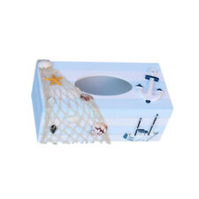 Wood Tissue Box Cover Toilet Bathroom Paper Holder Nautical Decor Anchor