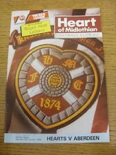 29/10/1988 Heart Of Midlothian v Aberdeen [Autographed On Front By: Jim Bett] .