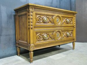 Stunning Karges Louis XVI Walnut Chest; Hand-Carved Detail; Neoclassic Frieze