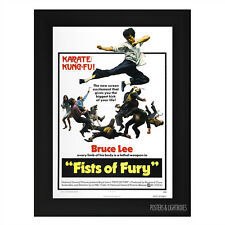 BRUCE LEE FISTS OF FURY KUNG FU CLASSIC Framed Film Movie Poster A4 Black Frame