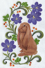 ENGLISH LOP RABBIT FLORAL SET OF 2 BATH HAND TOWELS EMBROIDERED BY LAURA