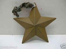 "Primitive 5""  mustard yellow Tin Star With plaid ribbon"