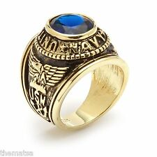 NAVY GOLD PLATED  SAPPHIRE CZ MILITARY RING ALL SIZES 8 9 10 11 12 13