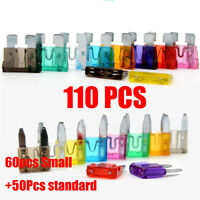110pc MINI Blade Fuse Auto Car Motorcycle SUV FUSES Kit APM 60*small+50*standard