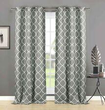 "2 Gray Semi Sheer Window Curtain Panels: White Embroidered Trellis Design, 84"" L"