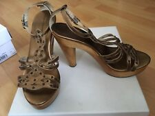 French Connection Designer Gold Leather gladiator Sandals Shoes 39