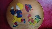VTG Folk Art 1920-30 Wood Plate Wall Plaque Hand Painted Rooster Child Chicken