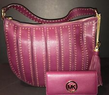 MICHAEL KORS Brooklyn Grommet Large Leather Feed Bag Plum & Fulton Wallet $706