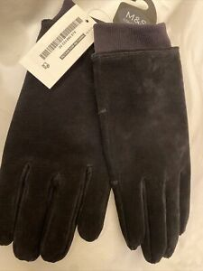 Marks And Spencer M&S Mens Genuine Suede Leather Black Gloves Medium RRP £35.00