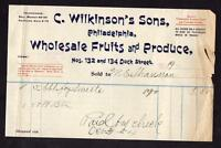 1904 C WILKINSON'S SONS PHILADELPHIA*WHOLESALE FRUITS & PRODUCE*DOCK STREET*