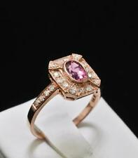 Fancy AAA Pink Sapphire & G-VS Diamond 14k Rose Gold Engagement Ring Vintage
