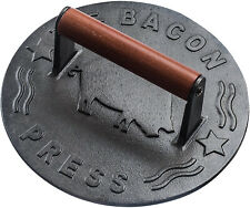 Cast Iron Grill Press Heavy Duty Bacon Press with Wood Handle 8.75 Inch Round