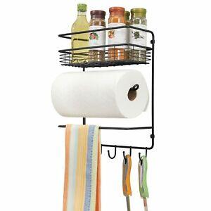 mDesign Metal Wall Mount Paper Towel Holder with Storage Shelf & Hooks - Black
