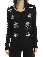 Black Occult Mystic Eye Cardigan M UK 12 Gothic Satanic Wicca