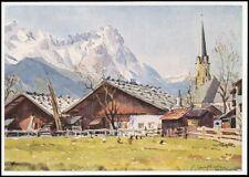 Partenkirchen Partie mit Zugspitze Künstlerkarte Emil Köhn ngl 137.294