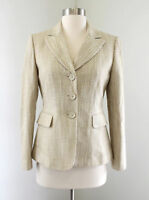 Tahari ASL Levine Beige Gold White Tweed Metallic Blazer Jacket Size 2P P2