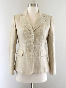 Tahari ASL Levine Beige Gold White Tweed Metallic Blazer Jacket Size 2P P2