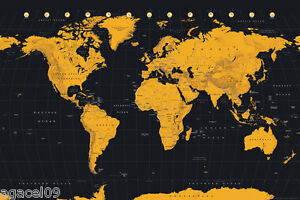 MAXI SIZE MAP OF THE WORLD 91.5x 61cm POSTER BLACK & GOLD CONTEMPORARY STUDY AID