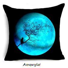 Housse de Coussin Chat Lune Bleue Nuit Arbre