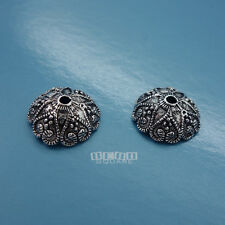 2PC Antiqued Sterling Silver Heart Round Bead Cap ap. 4.5 x 11 mm #33062