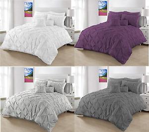 Pinch Pleat PinTuck 3 Pcs Duvet Set Poly Cotton Comforter Set Double & King Bed