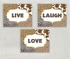 Live Laugh Love Animal Prints Zebra Cheetah Set of 3 8x10 Pictures