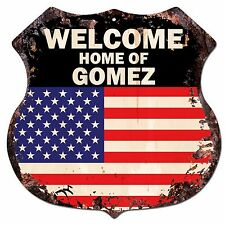 BP-0311 WELCOME US Flag HOME OF GOMEZ Family Name Shield Chic Sign Home Decor