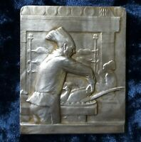 FRANCE ART NOUVEAU  SILVER PLAQUE FRENCH MEDAL, by Famous GRUN,107gr
