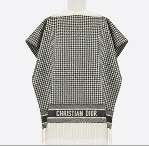 Christan Dior 100% Cashmere 30 Montaigne Poncho Black & White Houndstooth Motif