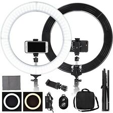 "Led Ring Light Stand Kit 19"" & Tripod Phone/Camera Dimmable 5500K Remote Control"