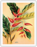 Heliconia - Vintage Hawaiian Airbrush Art by Frank Oda Hale Pua Studio c.1940s -
