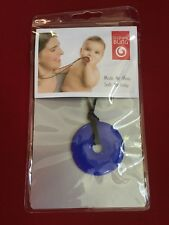 Smart Mom TEETHING BLING Chew Ring COBALT BLUE Round DONUT Shaped NECKLACE New