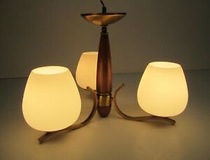 Vtg MCM Wood Brass 3 Bulb Chandelier Ceiling Light Fixture Frosted Glass Shades
