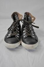 CONVERSE chuck taylor YOUTH size 3 black leather high-tops Needs a cleaning