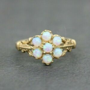 9ct Yellow Gold 0.50ct Opal Cluster Ring Size N, US 6 3/4